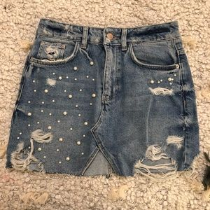 Zara distressed & beaded denim mini skirt